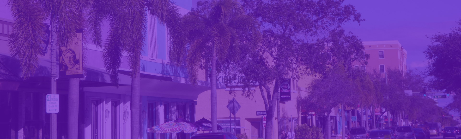 Image of Lake worth Down town with purple gradient