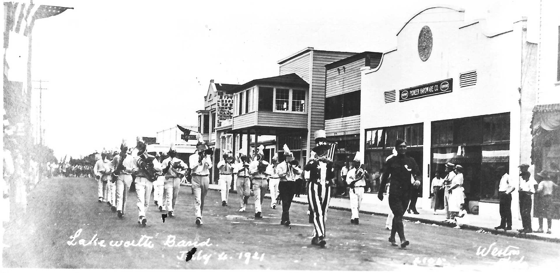 Historic image of parade in lake worth